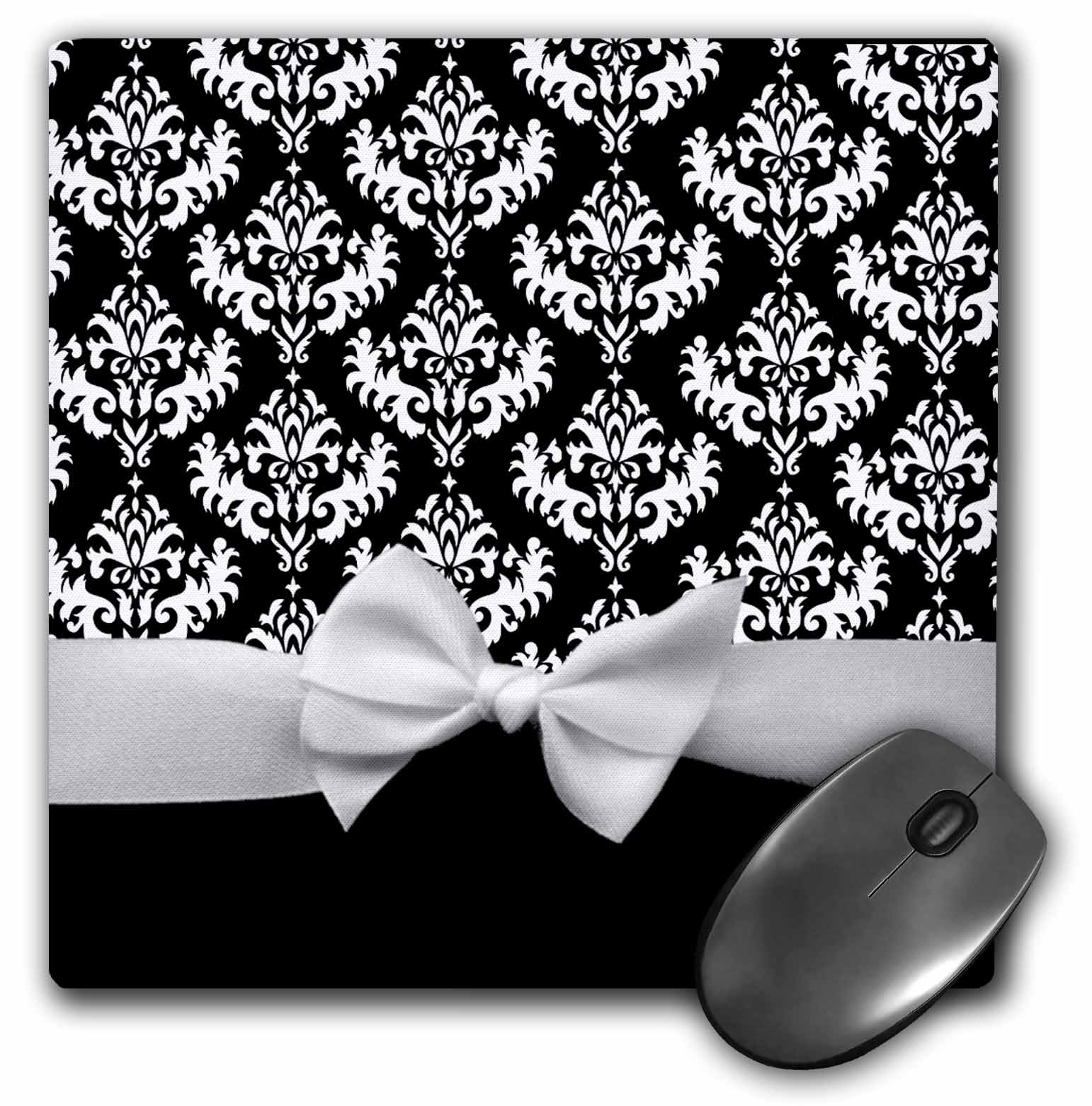 3dRose Black and White Damask pattern with elegant and classy white ribbon bow for stylish women, Mouse Pad, 8 by 8 inches