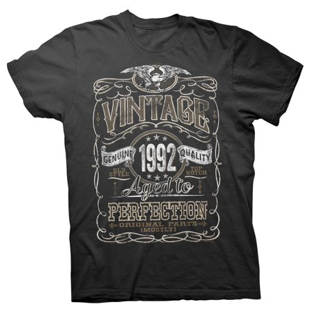 - Vintage Aged To Perfection 1992 - Distressed Print - 25th Birthday Gift T-shirt - Black