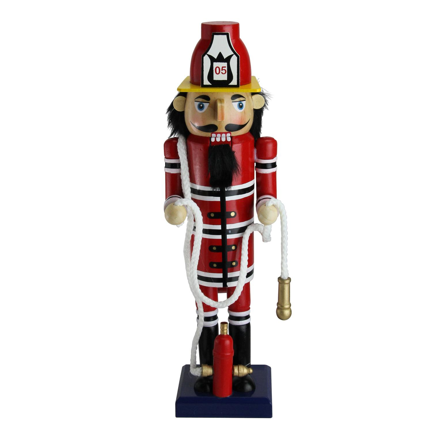 "14"" Red Wooden Fireman with Hose Christmas Nutcracker"