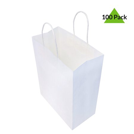 8x4x10 Pack Of 100 White Kraft Paper Bags, Shopping Bags, Event Bags, Gift Bags, Party Favor Bags, Merchandise Retail Bags Package Quantity:100                                 Durable Kraft Paper Shopping Bags, Packed 100Pcs. Per Package. Bags Measure 8' Wide 4' Deep And 10' Tall. Sturdy Reinforced Twisted Paper Handles. Great For Events, Retail Stores Or As Food Service Take Out Bags, Just Place A Logo Sticker On Them To Create Your Own Branded Bags. Also Great To Use As Gift Bags Or Party Favor Bags.