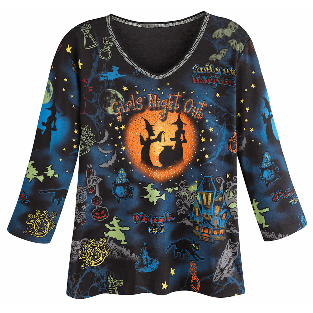 Women's Tunic Shirt - Girls Night Out Halloween 3/4 Sleeve Top