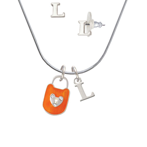 Hot Orange Enamel Lock with Clear Crystals - L Initial Charm Necklace and Stud Earrings Jewelry Set