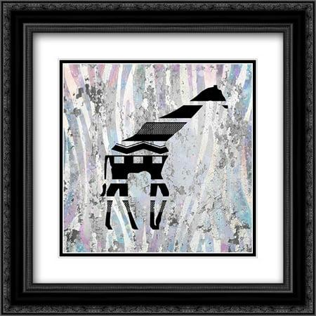 Safari Silhouette 2 2x Matted 20x20 Black Ornate Framed Art Print by Allen, Kimberly ()