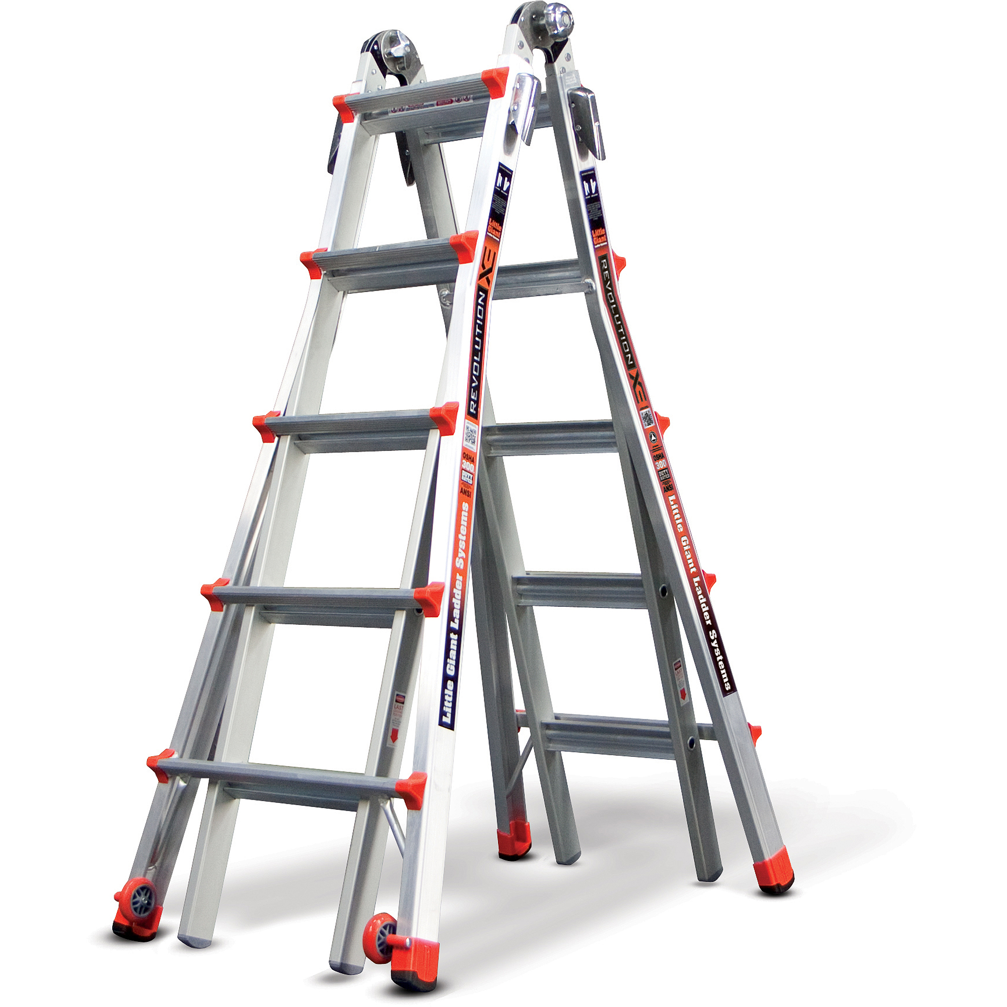 Little Giant Revolution, Model 22 - Type IA - 300 lbs rated, aluminum articulating ladder with trestle brackets