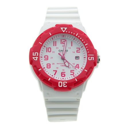 Women's Dive Style Watch with White Glossy Resin Strap with Pink Accents ()