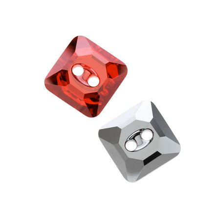 Swarovski Crystal  3017 Faceted Square Sew On Stone Buttons 12Mm  2 Pieces  Crystal Red Magma Foiled