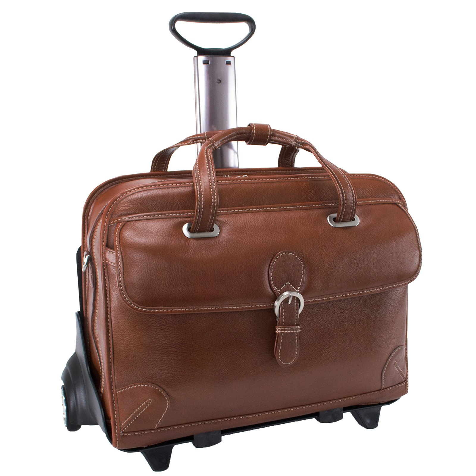 Siamod Carugetto Detachable-Wheeled Leather Laptop Case Cognac by McKleinUSA