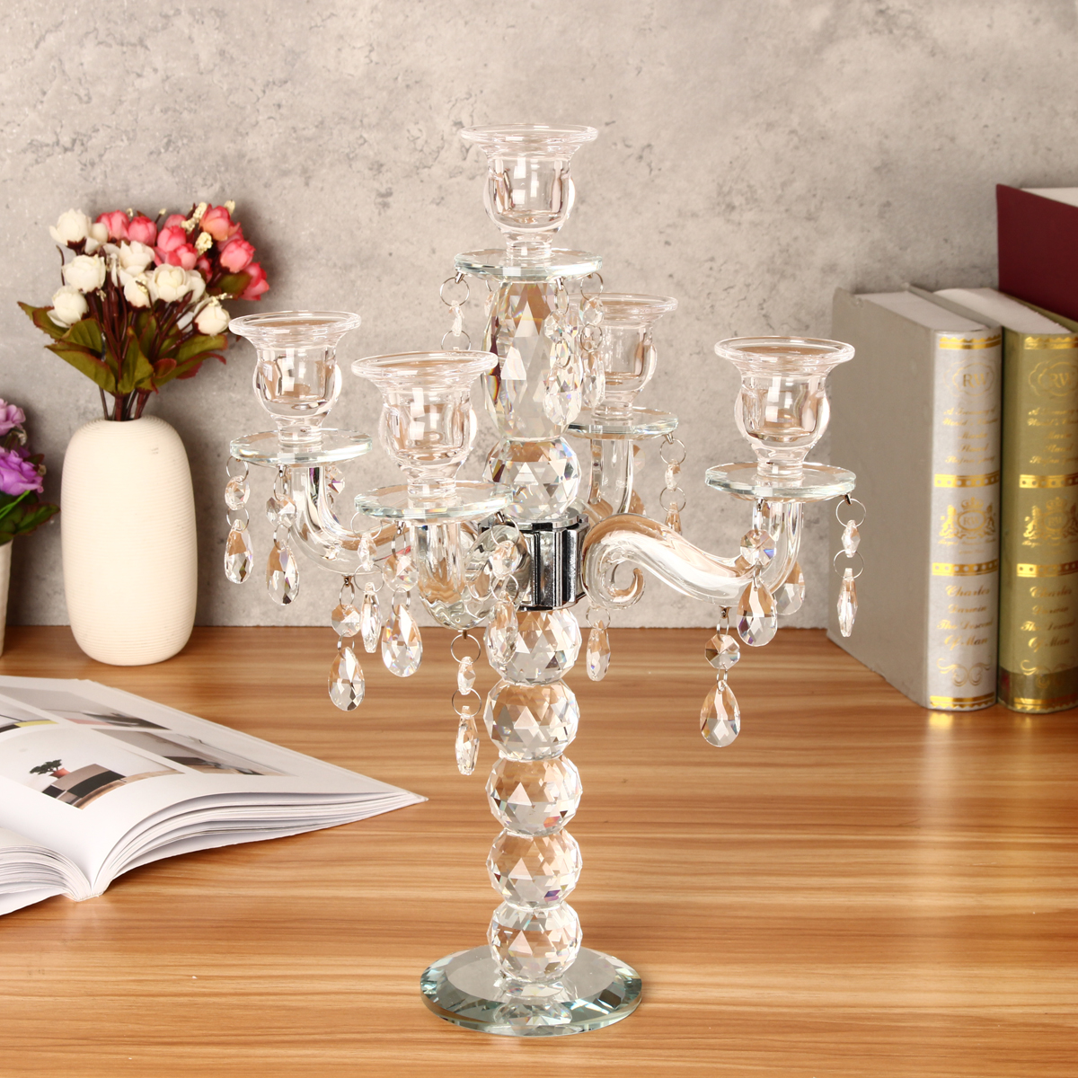 5 Arm Crystal Candelabra Pillar Candle Holder Centerpiece Candlestick Lights US by