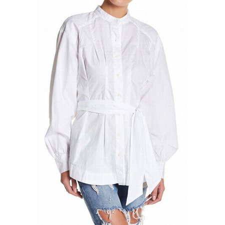 Belted Button (Free People NEW White Womens Size Small S Belted Button Down)
