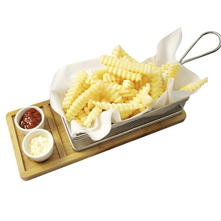 Yukon Glory YG-605 Magnificent Chip & Dip Serving Basket Bamboo Board and Sauce Cup Set for French Fries Fried Fish and More