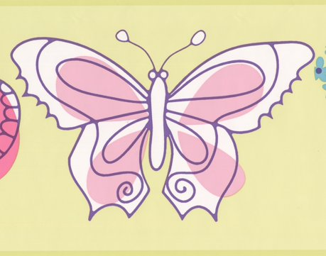 Butterfly Kids Baby Wallpaper Border for Cottage Kitchen Bathroom ...