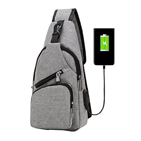 da5279d1c7 Sling Shoulder Crossbody Chest Bag for Men Women Lightweight Hiking Travel  Backpack Daypack with USB Charging Port(Grey) - Walmart.com