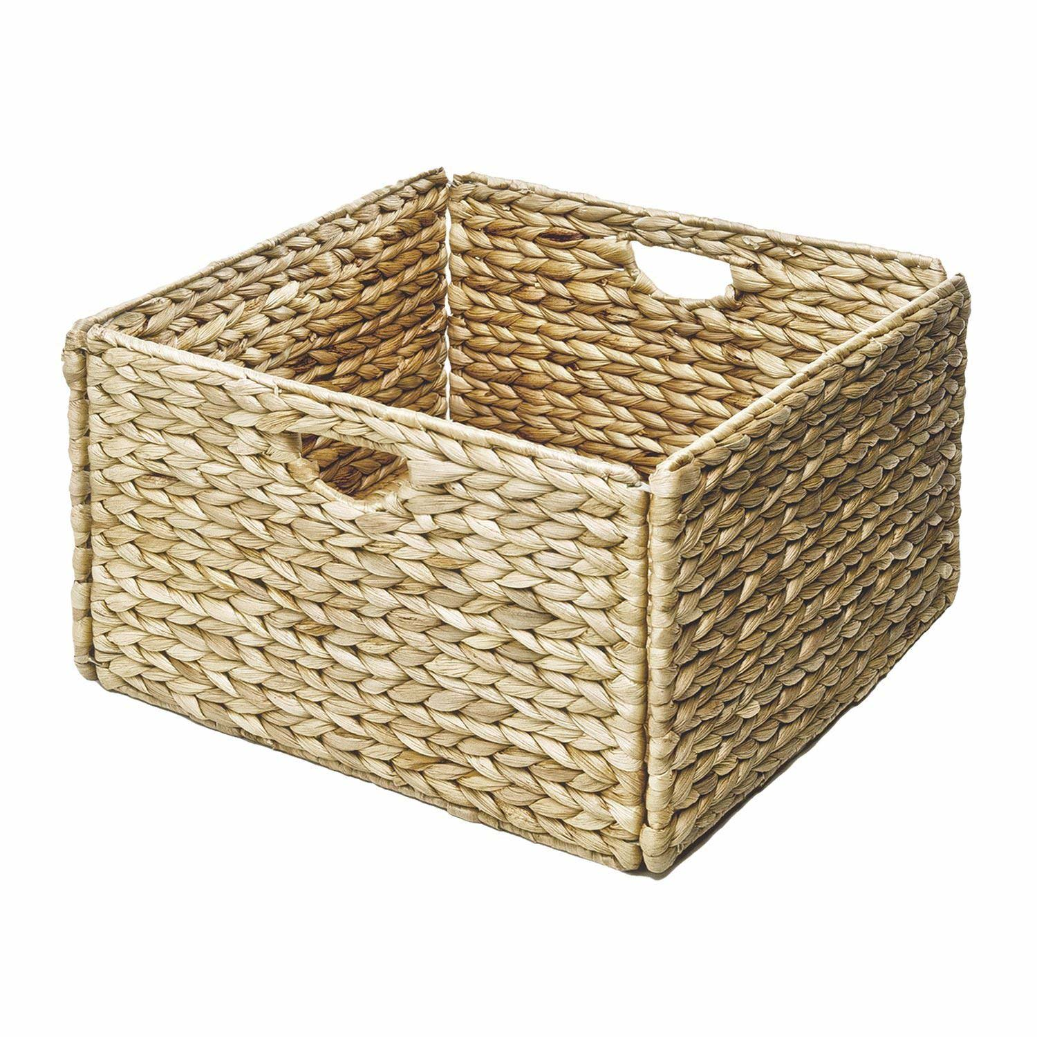 Woven Hyacinth Storage Cube Basket (2 Pack)   13x13x8