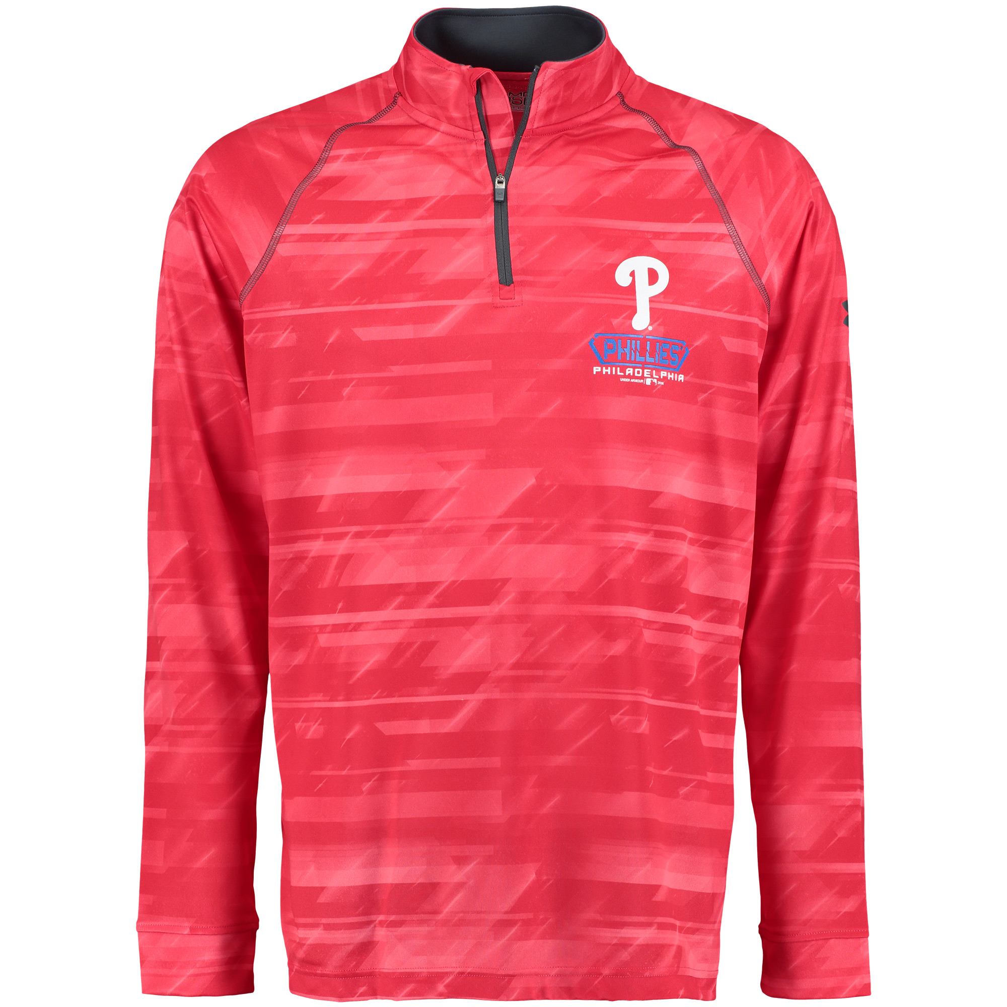 Philadelphia Phillies Under Armour Tech Novelty Quarter-Zip Performance Pullover - Red