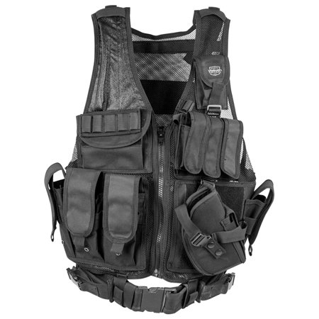 Valken Tactical Cross Draw Vest with Magazine and Pistol Holster Hydration Pack Ready with (Cross Draw Pistol)
