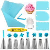 SUPERHOMUSE 14Pcs Cake Decorating Kit Include 8 Stainless Steel Piping Nozzle Tips Other Tools + 1 Pastry Bag + 1 Bag Clip + 3 Icing Smoother Spatulas + 1 Coupler