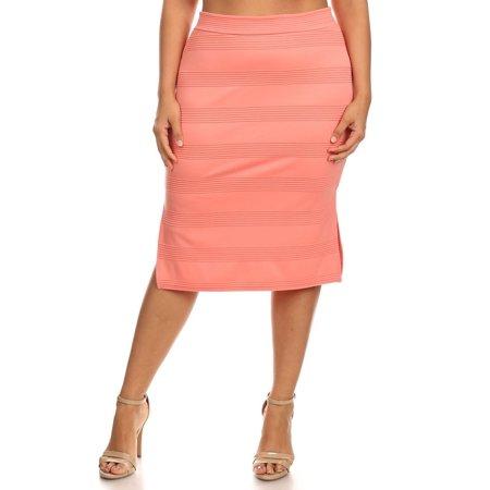 bdaf00de457 MOA Collection - Plus Size Women s Trendy Style Knee Length Pencil Skirt -  Walmart.com