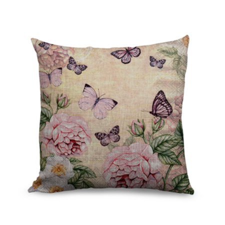 Flower Square Accent Decorative Throw Pillow Case Cushion Cover 18x18'' Zippered Gorgeous Parrent by Tayyakoushi (Flower Accent Pillow)