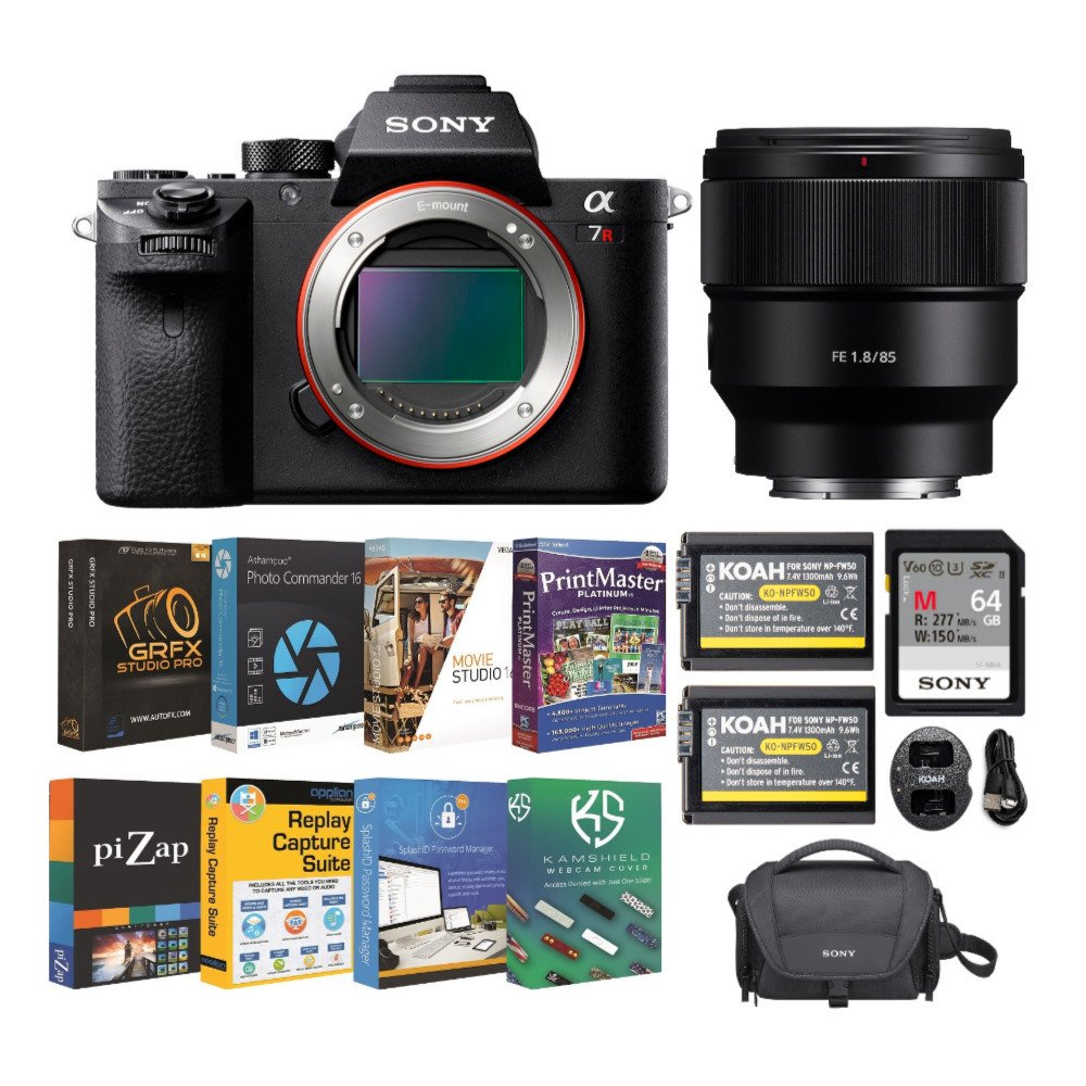 Sony Alpha a7R II Mirrorless Digital Camera with 85mm Lens and Accessory Bundle