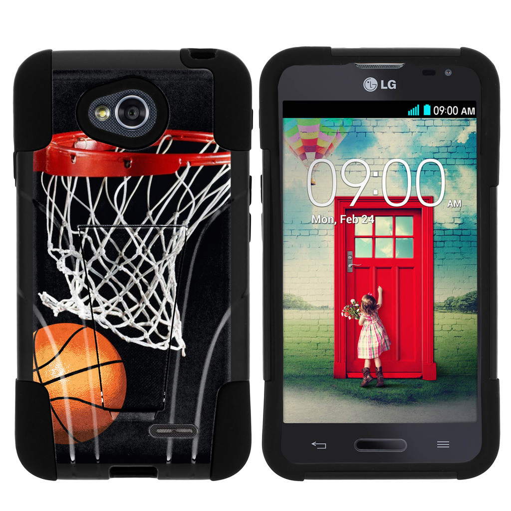 LG Optmius L70 and LG Optimus 2 STRIKE IMPACT Dual Layered Shock Resistant Case with Built-In Kickstand by Miniturtle® - Bball Hoops