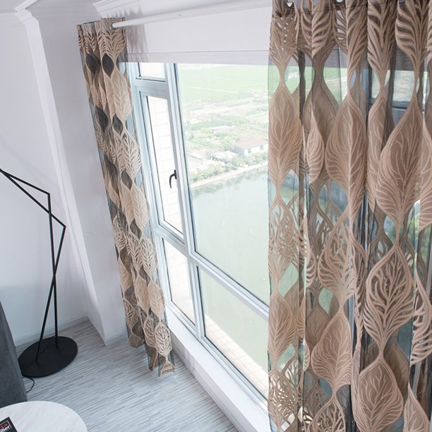 Otviap Perforated Type Sheer Curtains Leaf Embroidered Window Curtain For Bedroom Window Curtain Window Curtains Walmart Com Walmart Com