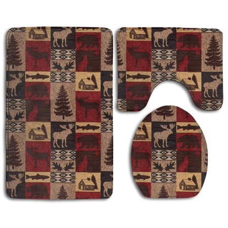 CHAPLLE Lodge Bear Deer Fish 3 Piece Bathroom Rugs Set Bath Rug Contour Mat and Toilet Lid Cover ()