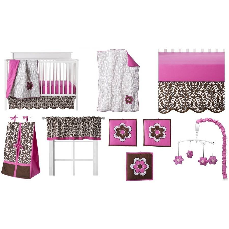 Bacati - Floral Damask Pink/Chocolate Girls 10-Piece Nursery-in-a-Bag Crib Bedding Set 100 % Cotton Percale