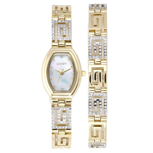 Elgin Women's Greek Key Watch and Bracelet Set