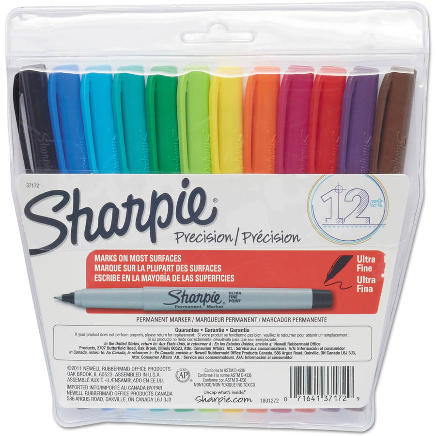 Sharpie Permanent Markers, Ultra-Fine Point, Assorted Colors