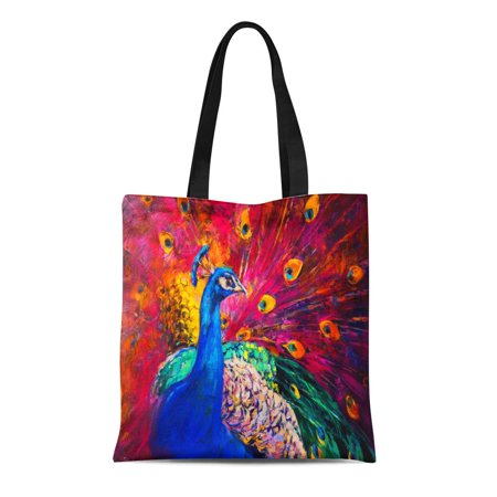 ASHLEIGH Canvas Tote Bag Watercolor Original Oil Painting on Canvas Beautiful Multicolored Peacock Durable Reusable Shopping Shoulder Grocery