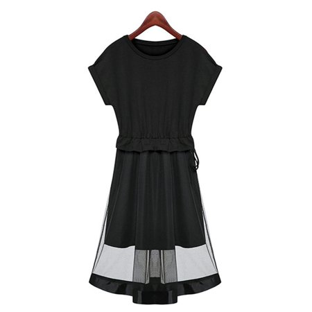 Sexy Short Trendy Round Collar Adjustable Waist Mesh Patchwork Dress For Women