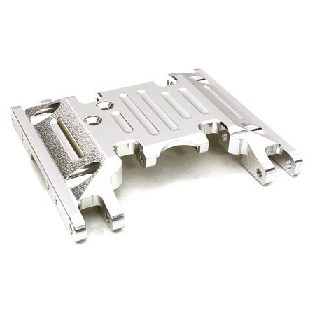 Integy RC Toy Model Hop-ups OBM-1330SILVER CNC Machined Alloy Center Skid Plate for Axial 1/10 SCX10 II w/LCG Transfer Case ()
