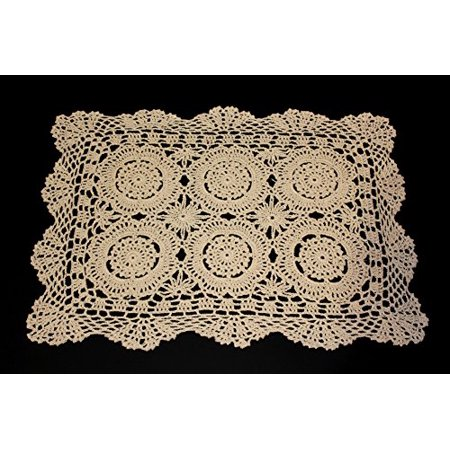 "Handmade Crochet Lace Cotton Traycloth Placemats, Set of 4, 12""x18"" (rectangular, beige)"