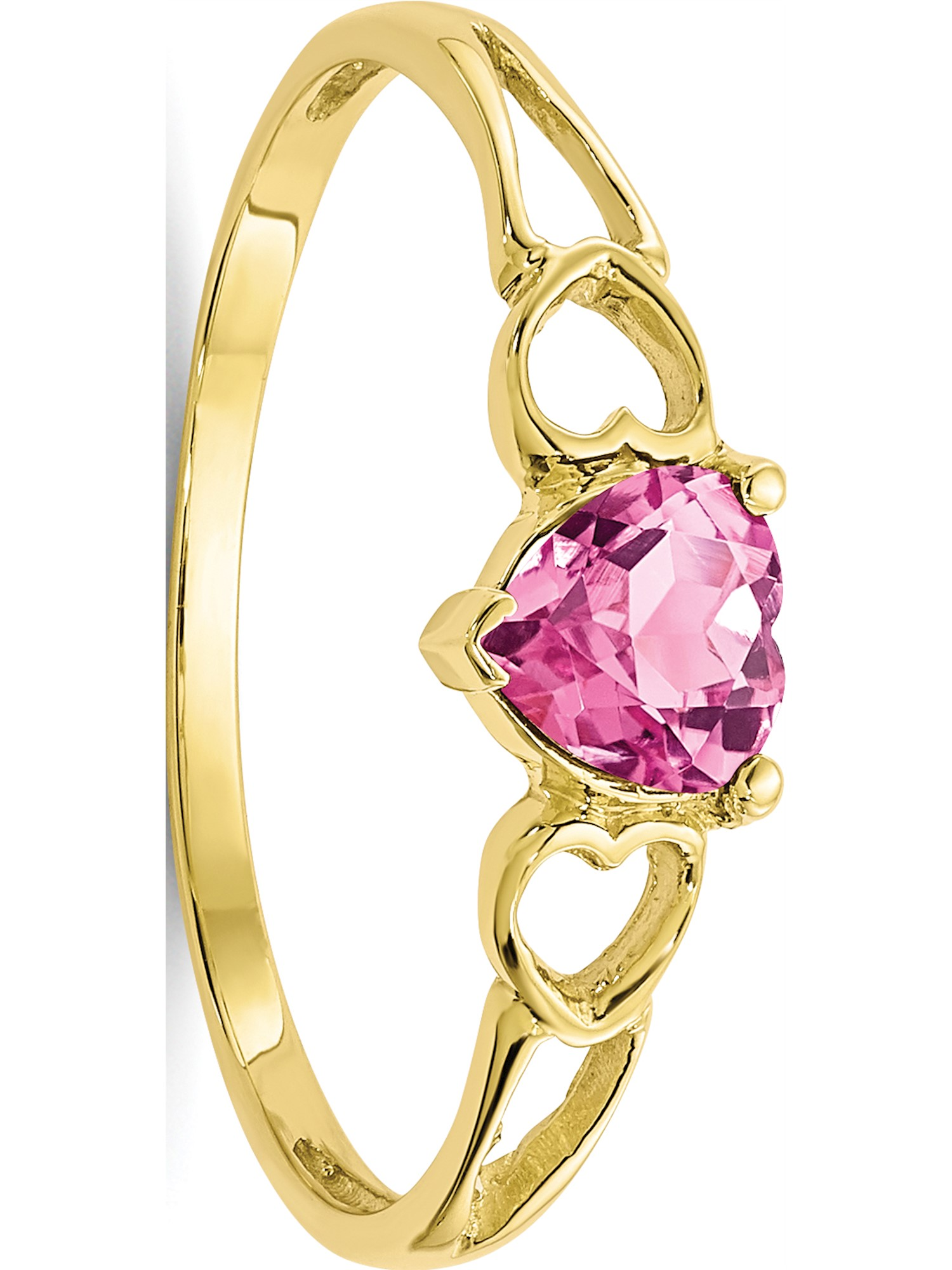 10k Yellow Gold Polished Geniune Pink Tourmaline Birthstone Ring by