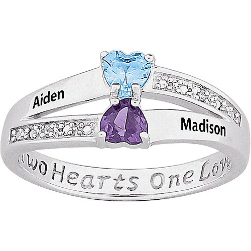 Personalized Couple's Heart Name with Birthstone and Diamond Accent Ring in Sterling Silver