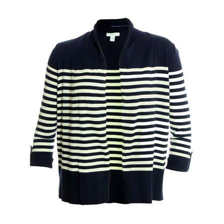 Charter Club - Charter Club Women s 3 4 Sleeve Open Front Cardigan Sweater  X-Large Petite Intrepid Blue Combo - Walmart.com 57ea95f7f
