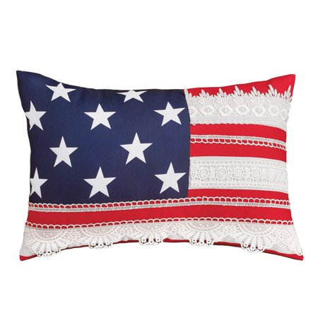 Cute Americana Flag Design Lace Accent Pillow - Patriotic Home Décor for Any - Hand Lace Accents