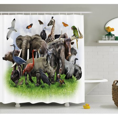 Ambesonne Wildlife Digital Collage with African Safari Zoo Artwork Shower Curtain Set