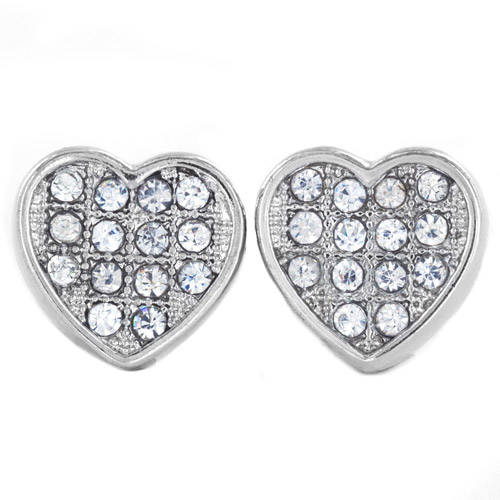Silver-Tone Micro-Pave Crystal Heart Stud Post Earrings