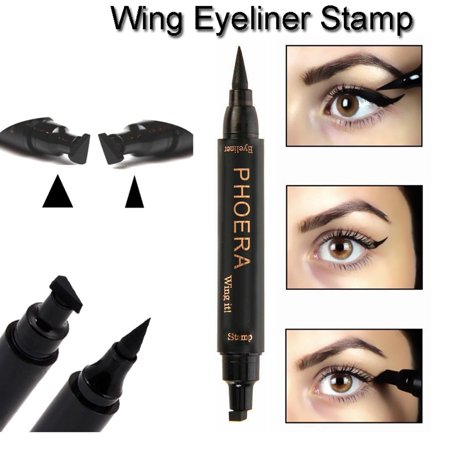HiCoup 2 in 1 Wing Stamp Waterproof Makeup Long Lasting Shimmer Liquid Eyeliner (Eyeliner Makeup For Halloween)
