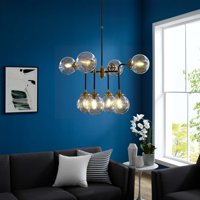 Ambition Amber Glass And Antique Brass 8 Light Pendant Chandelier in