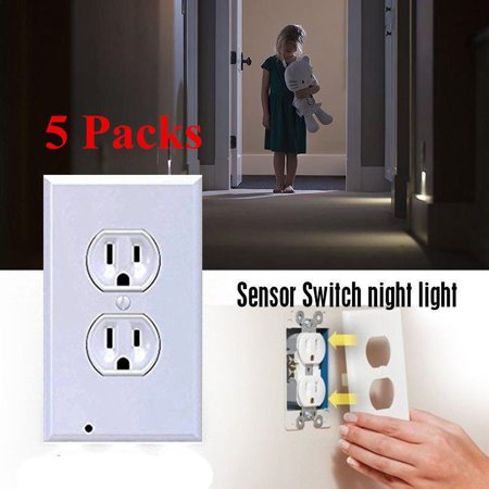 5Pack Duplex Night Light Sensor LED Plug Cover Wall Outlet Coverplate Hallway