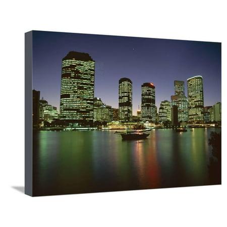 City Skyline and Brisbane River at Night, Brisbane, Queensland, Australia Stretched Canvas Print Wall Art By Mark Mawson