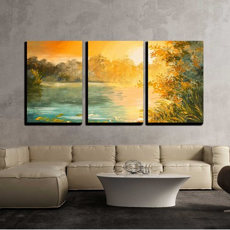 Lake Oil Painting (wall26 - 3 Piece Canvas Wall Art - Oil Painting - Sunset on the Lake, Colorfull Art Drawing, Autumn, Yellow - Modern Home Decor Stretched and Framed Ready to Hang - 24