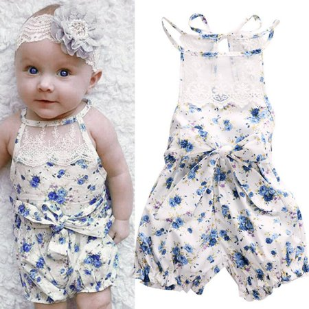 Newborn Infant Sleeveless Bodysuit Blue Floral Romper Jumpsuit Baby Girl Outfits Lace Jumpsuit With Thin Straps Sunsuit Clothes