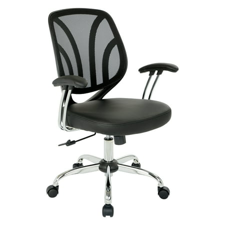 Work Smart™ Screen Back Chair with Chrome Padded Arms and Dual Wheel Carpet Casters in Black Faux