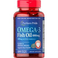 Puritan's Pride Omega-3 Fish Oil 1000 mg (300 mg Active Omega-3)-100 Softgels