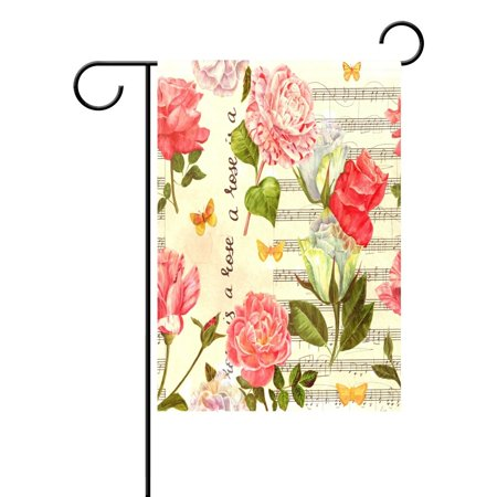 POPCreation Shabby Chic Peony Floral Garden Flag Outdoor Flag Home Party 28x40 inches ()