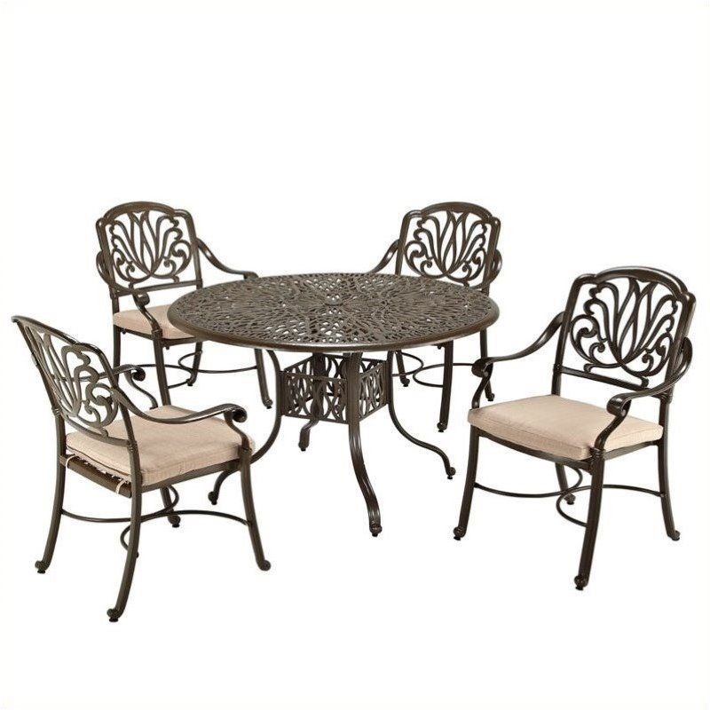 Hawthorne Collections 5 Piece Metal Patio Dining Room Set in Taupe by Hawthorne Collections