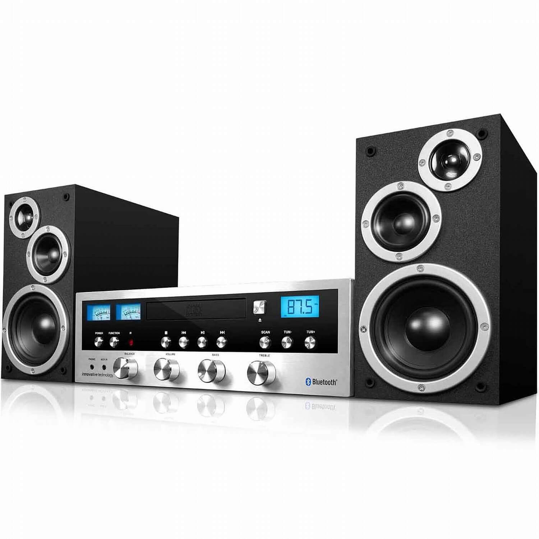 Refurbished Innovative Technology Classic 50 Watt Retro Wireless Bluetooth Stereo System